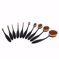 New Toothbrush Shape Oval Beauty Makeup Brushes Foundation Powder Make up Brushes Eyebrow Cosmetic Tools Black  10PCS/set