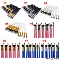 Classical  Makeup Brushes 10pcs/set Professional Cosmetic Brush Kit Nylon Hair Wood Handle many colors to choose