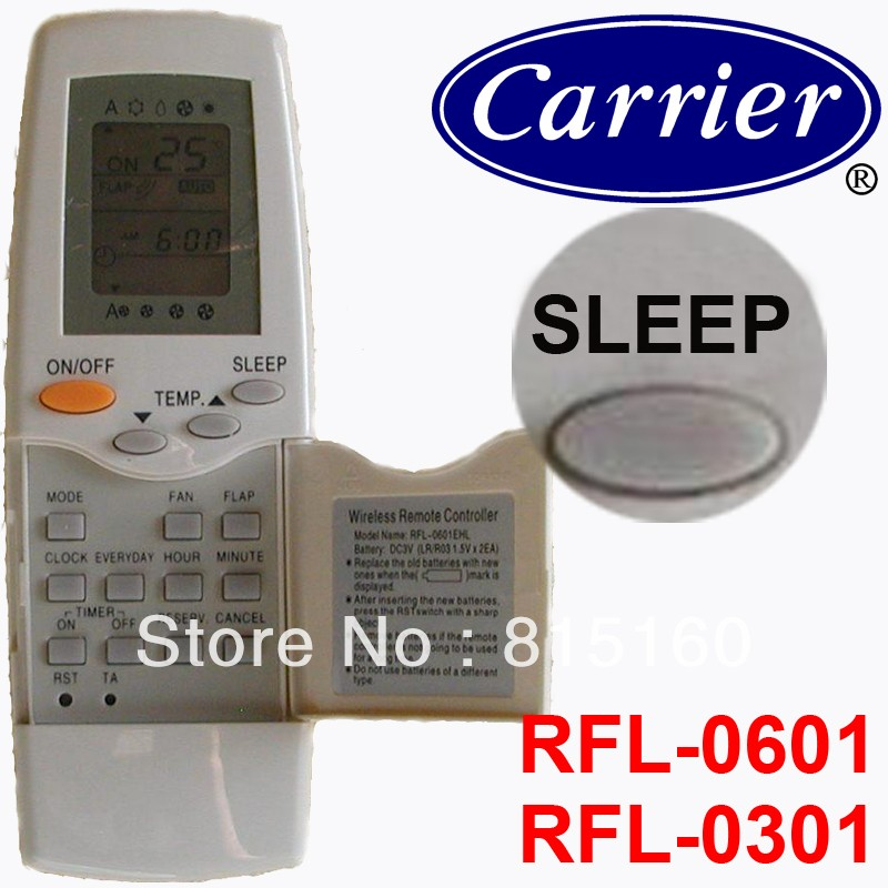 carrier remote control. carrier split and portable air conditioner remote control rfl-0301 rfl-0601 e
