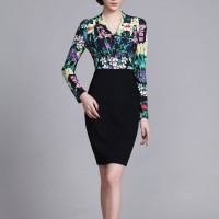 Floral Chiffon High Quality Elegant Party Women Pencil Dress SIL1018Apparel<br>Floral Chiffon High Quality Elegant Party Women Pencil Dress SIL1018<br>