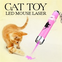 New Hot Funny Cat Dog Pet Toys LED Laser Pointer Light Pen With Bright Mouse Animation
