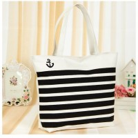 Wholesale Canvas Women Fashion Blue Red Black Striped Printing Women's Handbags Shoulder Bag Casual Shopping Bags