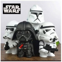 Money Box! Star Wars Action Figure Black Knight Darth Vader Stormtrooper 15cm Figures Collection Brinquedos Kid Toy Figura Model with original box