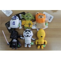 60pcs/lot Star Wars Plush Doll Pendants Yoda Stormtrooper Darth Vader Toy Keychains Model Strap 10cm