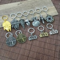 2016 Star Wars Keychain Airship Metal Key buckle Star Trek Spaceship Battleship key ring Children cartoon gifts with retail package 12 style