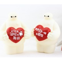 2 pcs one pair plus size Big Hero 6 BayMax coin bank , white cartoon coin bank , BayMax piggy bank Doll in Big Hero 6 can save 1200pcs coins