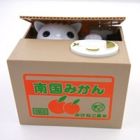 2015 New Chatora Cat Itazura Automated Kitty Cat Steal Coin Piggy Bank Savings Box OM