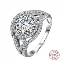 ROMAD 925 Silver Crossing Design with Clear Zircon Women's Ring for Wedding Engagement