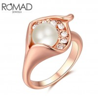 ROMAD Fashion New Plated Alloy Pearl Womens Ring with Clear Zircon Rose GoldROMAD Fashion New Plated Alloy Pearl Womens Ring with Clear Zircon Rose Gold<br>