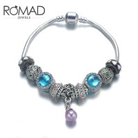ROMAD Fashion New Vintage Style Alloy Glass Stone Women's Bracelet Wrist Chain with Pearl Pendant