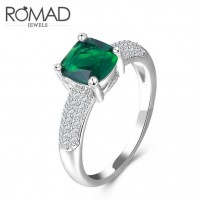 ROMAD Platinum Plated Copper Zircon Womens Ring with Square Green Glass StoneROMAD Platinum Plated Copper Zircon Womens Ring with Square Green Glass Stone<br>