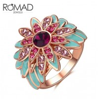 ROMAD Fashion Sunflower Design New Plated Alloy Womens Ring with Glass Stone Silver ColorROMAD Fashion Sunflower Design New Plated Alloy Womens Ring with Glass Stone Silver Color<br>