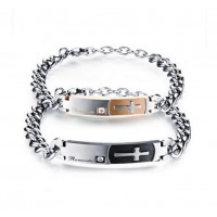 Fashion New Stainless Steel ROMANTIC Bracelet Wristchain with Zircon for LoversFashion New Stainless Steel ROMANTIC Bracelet Wristchain with Zircon for Lovers<br>
