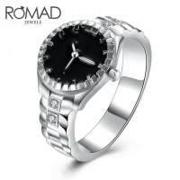 ROMAD Fashion New Watch Design Silver Plated Copper Women's Ring