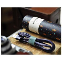 MAOXIN Starry Night Pattern ​2.4A Fast Charging Lightning / Micro USB ​Sync ​Data Cable with Leather Cable Tidy for IOS Android Cell Phone 1M