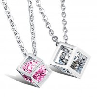 Fashion Stainless Steel Love-promise Necklace w/ Cube Pendants with Zircon for Couple Lover