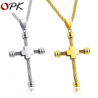 OPK Gold/Silver Plated Stainless Steel Necklack Chain with Cross Pendant 21 NewOPK Gold/Silver Plated Stainless Steel Necklack Chain with Cross Pendant 21 New<br>