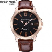Fashion Stainless Steel Quartz Men's Watch with Leather Band
