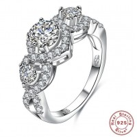 ROMAD 925 Silver Braid Style Zircon Women's Ring for Wedding Engagement