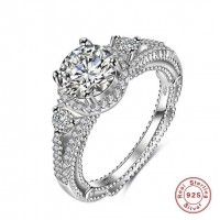 ROMAD 925 Silver Zircon Hollow Women's Ring for Wedding Engagement
