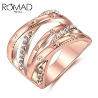 ROMAD Fashion Cross Style New Plated Alloy Womens Ring with Clear Zircon Rose GoldROMAD Fashion Cross Style New Plated Alloy Womens Ring with Clear Zircon Rose Gold<br>
