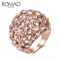 ROMAD Fashion Hollow Style New Plated Alloy Women's Ring with Clear Zircon Rose Gold