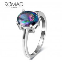 ROMAD Fashion New Plated Copper Women's Ring Four Claws Colorful Round Glass Stone