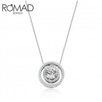 ROMAD 925 Silver Double Circle Design Women's Necklace with Round Clear Zircon Pendant