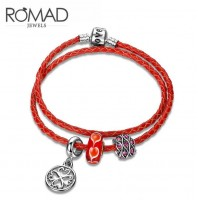 ROMAD Red Genuine Leather Womens Bracelet with Agate BeadROMAD Red Genuine Leather Womens Bracelet with Agate Bead<br>