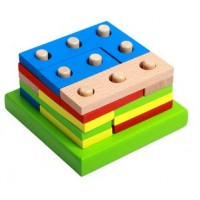 Wooden Blocks Construction Building Toys Set Stacking Bricks Board Games