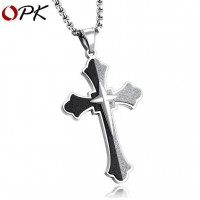 OPK Stainless Steel Necklack Chain with Matte Cross Pendant  21 NewOPK Stainless Steel Necklack Chain with Matte Cross Pendant  21 New<br>