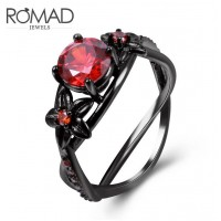 ROMAD Fashion Flower Style New Plated Copper Women's Ring with Red Glass Stone