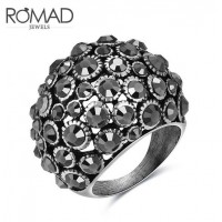 ROMAD Fashion Hollow Style New Plated Alloy Women's Ring with Black Zircon