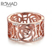 ROMAD Fashion Rose Gold Brass Rose Pattern Design with Clear Zircon Women's Ring