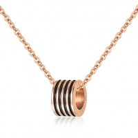 Fashion Rose Gold Plated Stainless Steel Women's Necklace w/ Ring Pendants
