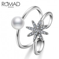 ROMAD Fashion Flower Style Bead New Plated Copper Adjustable Women's Ring with Clear Zircon
