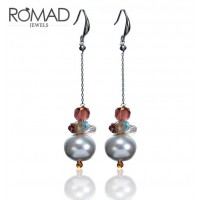 ROMAD Fashion Alloy Women's Pierce Earring with Bead Pendant