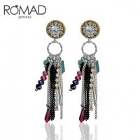 ROMAD Fashion Beads Crystal Plated Copper Women's Earring Stud