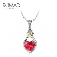 ROMAD Fashion Plated Brass Red Zircon Necklace with Heart Pendant