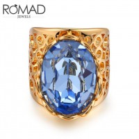 ROMAD Fashion Vintage 18K Gold Brass Hollow Design with BIG Blue Zircon Women's Ring
