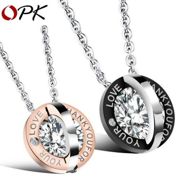 OPK Fashion Stainless Steel Necklace with Ring Zircon Pendant for Couple LoverOPK Fashion Stainless Steel Necklace with Ring Zircon Pendant for Couple Lover<br>