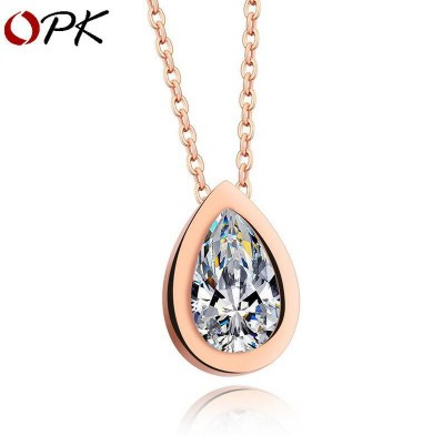 OPK Fashion Rose Gold Plated Stainless Steel Womens Necklace with Drip Zircon PendantOPK Fashion Rose Gold Plated Stainless Steel Womens Necklace with Drip Zircon Pendant<br>
