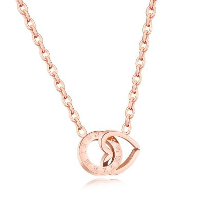 New Rose Gold Plated Womens Necklace Stainless Steel w/ Hear&amp;Ring PendantsNew Rose Gold Plated Womens Necklace Stainless Steel w/ Hear&amp;Ring Pendants<br>