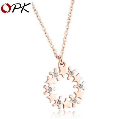 New Rose Gold Plated Womens Necklace Stainless Steel Ring Pendants w/ ZirconNew Rose Gold Plated Womens Necklace Stainless Steel Ring Pendants w/ Zircon<br>