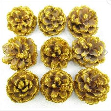 9PCS Christmas Tree decoration Golden Real Pine Cone9PCS Christmas Tree decoration Golden Real Pine Cone<br>