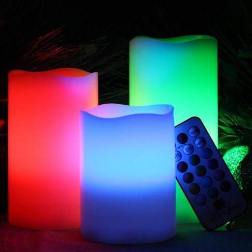3PCS 456LED Candles Flameless Candles Ivory Wax Multi Color Changing Remote and auto-off Timer for Decorations and Parties3PCS 456LED Candles Flameless Candles Ivory Wax Multi Color Changing Remote and auto-off Timer for Decorations and Parties<br>