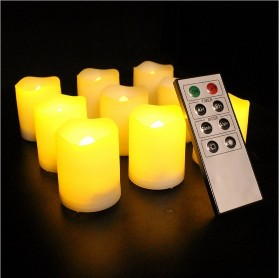 9PCS Flameless Battery Operated LED Pillar Candles Unscented Ivory Votive Candles with Remote Control &amp; Timer9PCS Flameless Battery Operated LED Pillar Candles Unscented Ivory Votive Candles with Remote Control &amp; Timer<br>