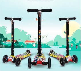 Folding Alloy stunt Kick scooter for KidsHeight Adjustable with 4 LED Colorful Flashing WheelsFolding Alloy stunt Kick scooter for KidsHeight Adjustable with 4 LED Colorful Flashing Wheels<br>