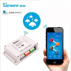 Sonoff 4CH 4 Channel Din Rail Mounting WiFI Switch for DIY smart home,Remotely Control Four Home Appliances independentlySonoff 4CH 4 Channel Din Rail Mounting WiFI Switch for DIY smart home,Remotely Control Four Home Appliances independently<br>