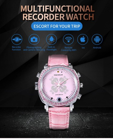 Foxwear F26 Women Fashion Camera Smart Watch Sport Bracelet Voice Video Recorder DVR WIFi camera watch Hidden camera spy watch for Android iOSFoxwear F26 Women Fashion Camera Smart Watch Sport Bracelet Voice Video Recorder DVR WIFi camera watch Hidden camera spy watch for Android iOS<br>